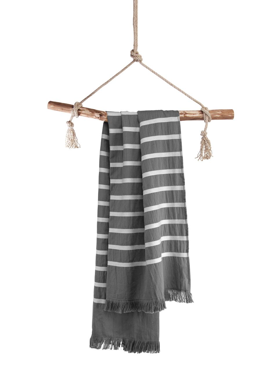Walra Hamamdoek Fouta Sunny Stripes 100x180 Antraciet