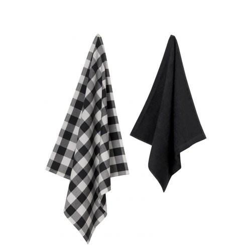 Set Keukentexiel Uni - zwart/grijs