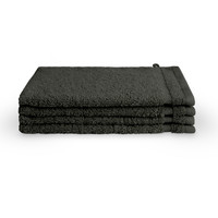 4 Washandjes - Bath basics - Antraciet - 16x21 cm