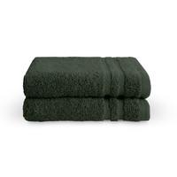 2 Gastendoekjes - Bath Basics -  Donker groen - 30x50 cm