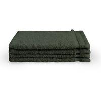 4 Washandjes - Bath Basics - Donker groen - 16x21 cm