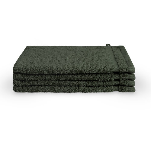 Byrklund 4 Washandjes - Bath Basics - Donker groen - 16x21 cm