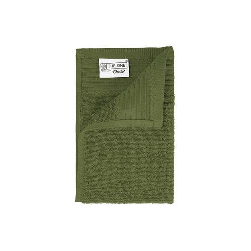 The One Towelling  Gastendoekje - Olijf groen - 30x50 cm - Set van 5