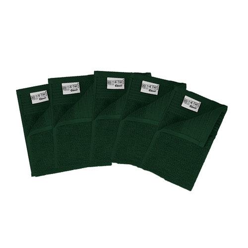 The One Towelling  Gastendoekje - Donker groen - 30x50 cm - Set van 5