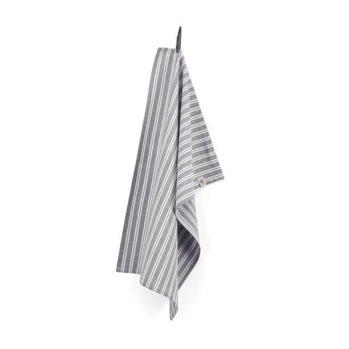 Walra Theedoek - Off Black - Stripes