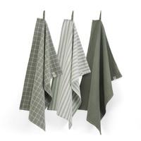 Keuken & theedoeken set - Leger groen