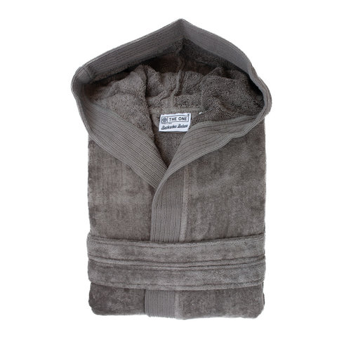 The One Towelling  Badjas - Velours met capuchon - Taupe