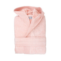 Badjas - Velours met capuchon - Zalm roze