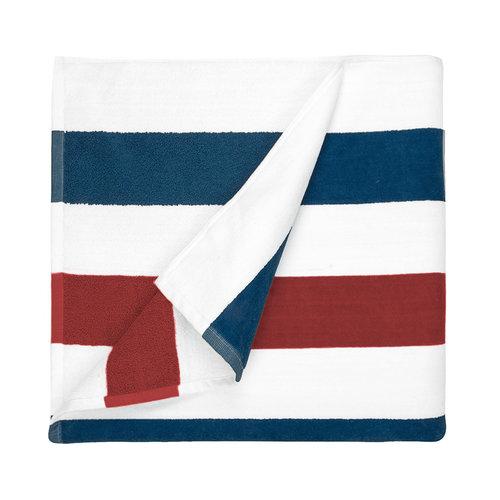 The One Towelling  Strandlaken - Stripes - Navy blauw / Rood