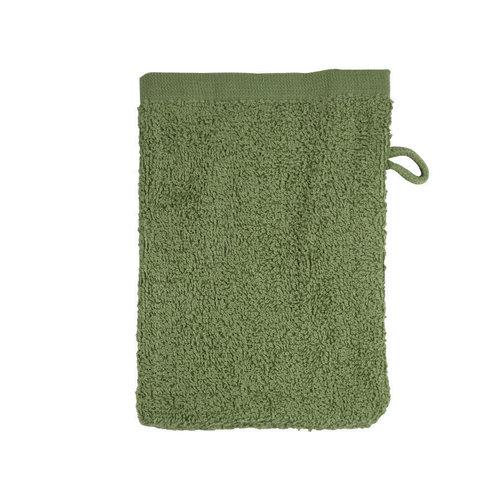 The One Towelling  Washandje - Olijf groen - 16x21 cm - Set van 10