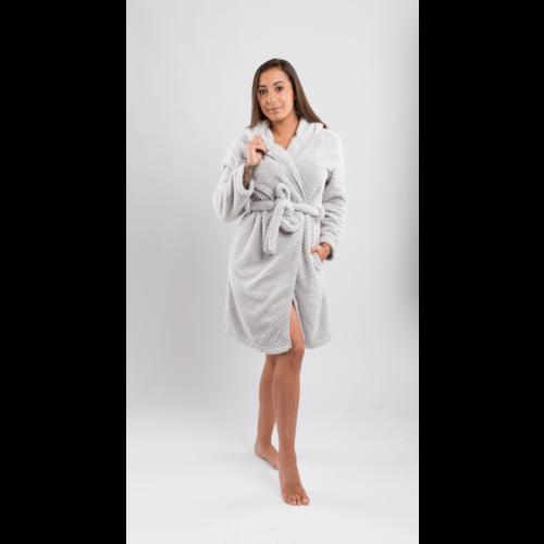 Clarysse Badjas met Capuchon- Fleece - Licht grijs