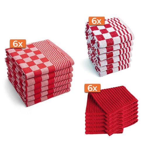 Byrklund Keukentextiel set - Rood - 18 stuks - 6x Keukendoek - 6x Theedoek - 6x Vaatdoek