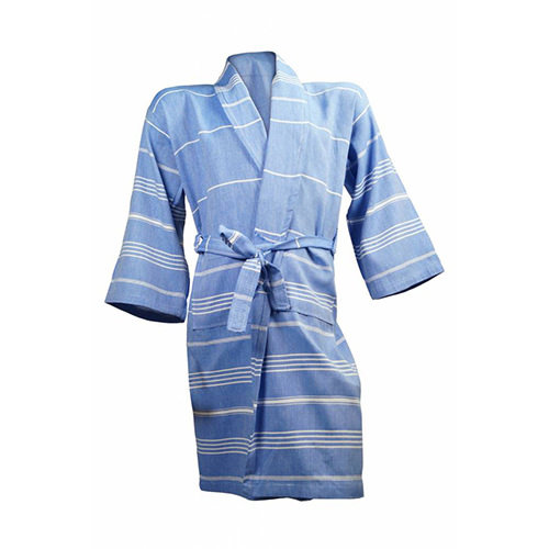 The One Towelling  Hamam badjas - Blauw / Wit