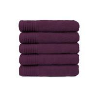 Handdoek - Aubergine - 50x100 cm - Set van 5