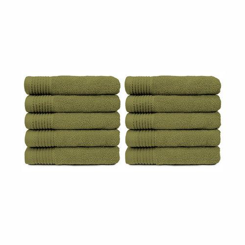 The One Towelling  Handdoek - Olijf groen- 50x100 cm - Set van 10