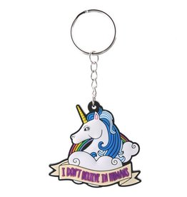 Unicorn keychain 'I don't believe in humans'