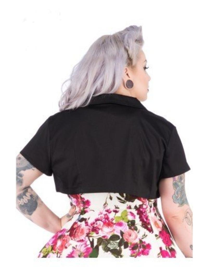 Hearts & Roses Black Plain Bolero plus size