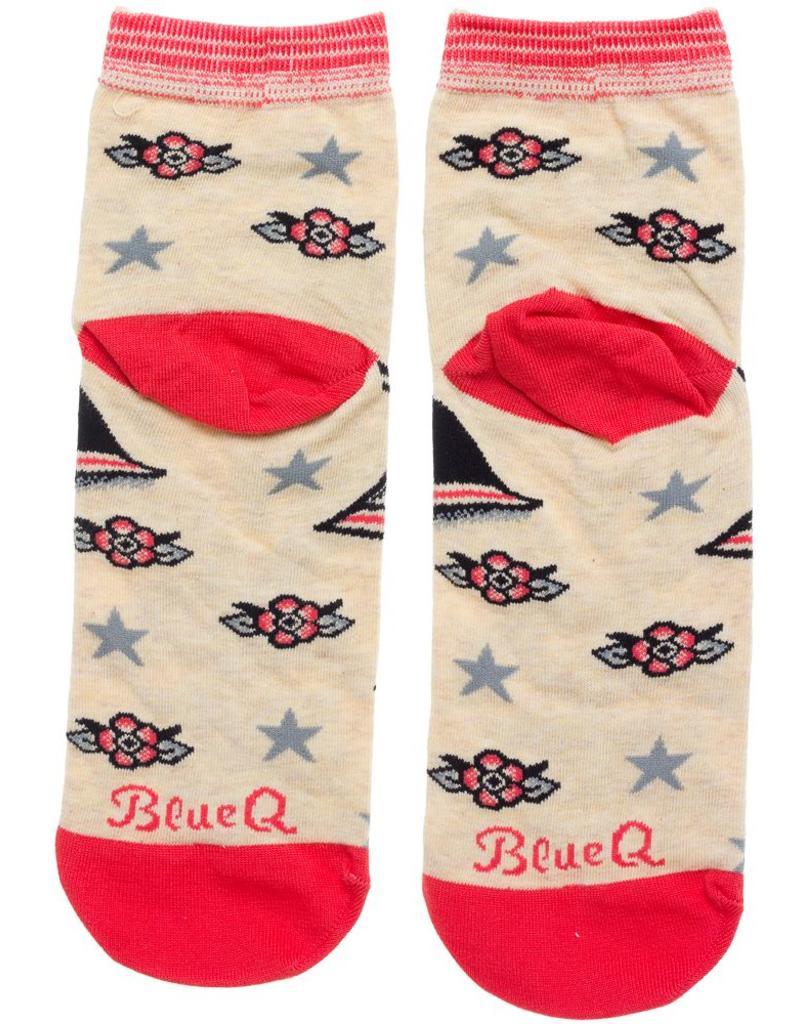 Fight Like A Girl Blue Q Socks