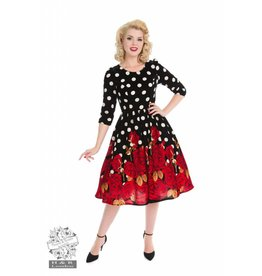 Hearts & Roses Red Roses Velvet Dress