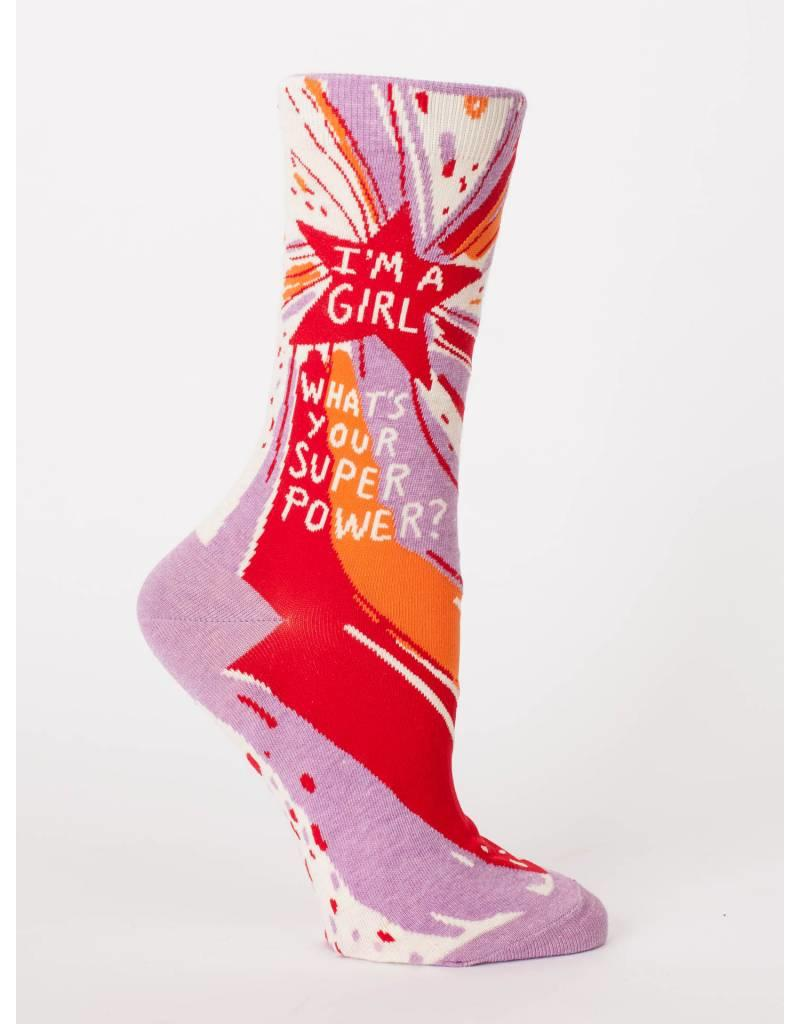 Blue Q I'm a girl, what's you superpower? socks