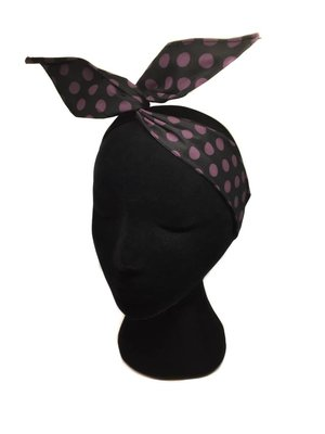 Polka  dot Hair wrap black-purple