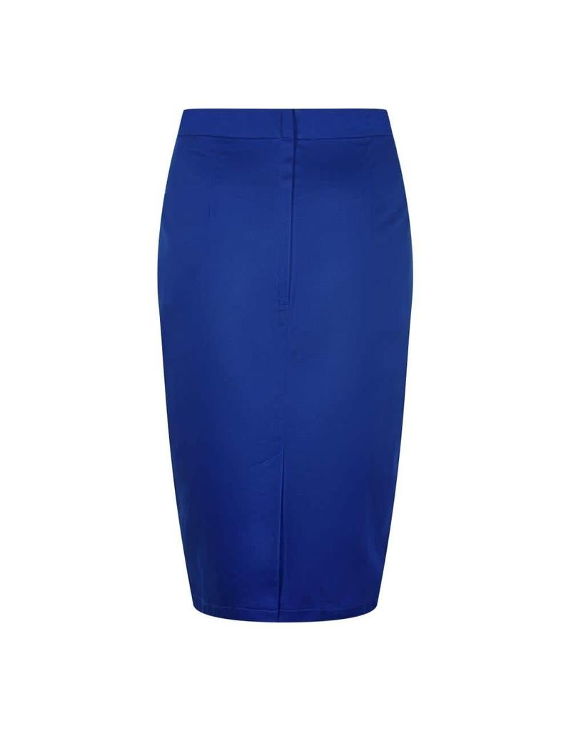 Collectif Polly Classic Cotton Pencil Skirt - blue