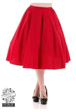 Hearts & Roses Red with black polka dot skirt