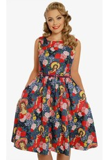 Lindy Bop 'Annie' Blue Fiesta Print Swing Dress