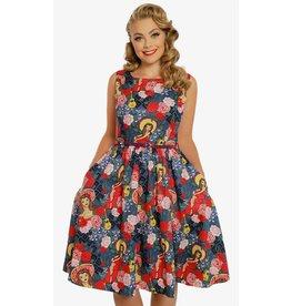 Lindy Bop 'Annie' Blue Fiesta Print Swing Dress