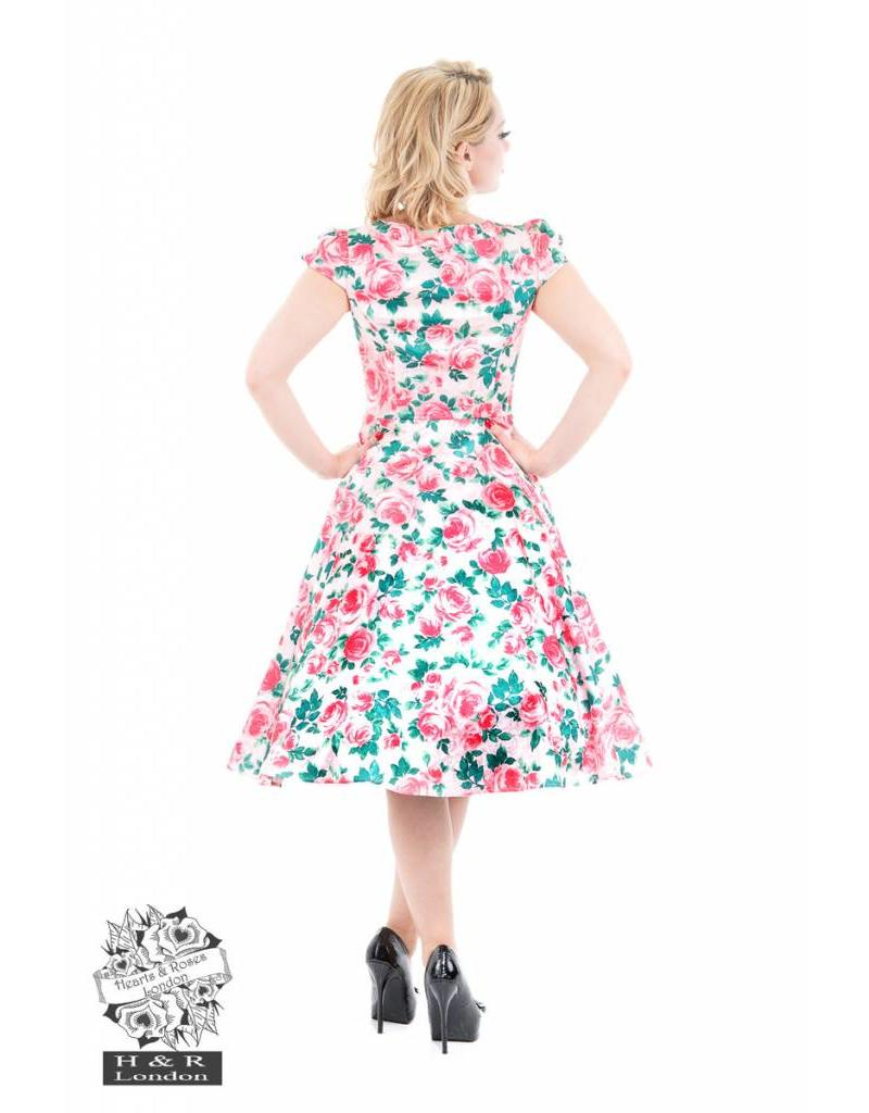 Hearts & Roses Bright Pink Rose Floral Dress