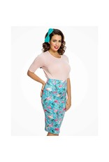 Lindy Bop 'Naomi' Tropical Flamingo Print Pencil Skirt