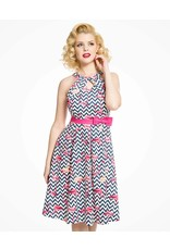 Lindy Bop 'Cherel' Zig Zag Flamingo Print Swing Dress