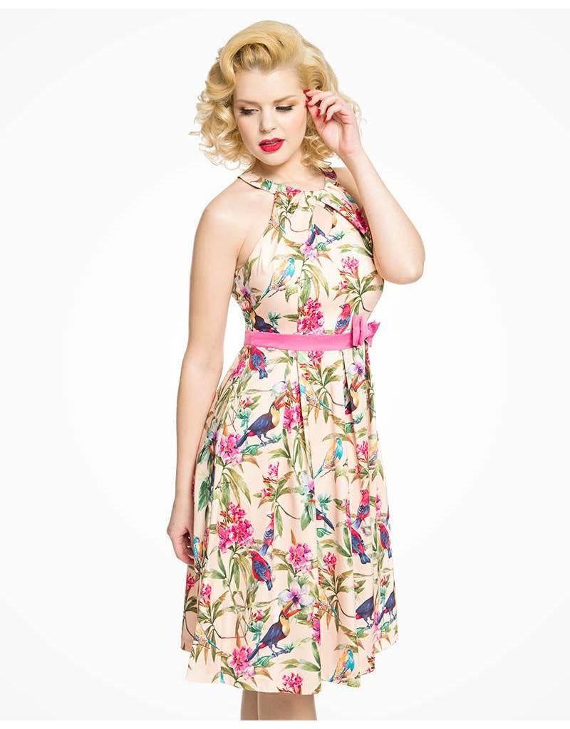 Lindy Bop 'Cherel' Pink Tropical Bird Print Satin Swing Dress