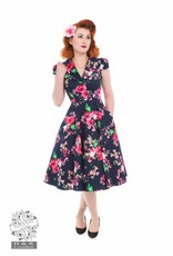 Hearts & Roses Midnight Garden Floral tea dress