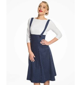 Lindy Bop 'Pixie' Navy Polka Dungaree Swing Skirt