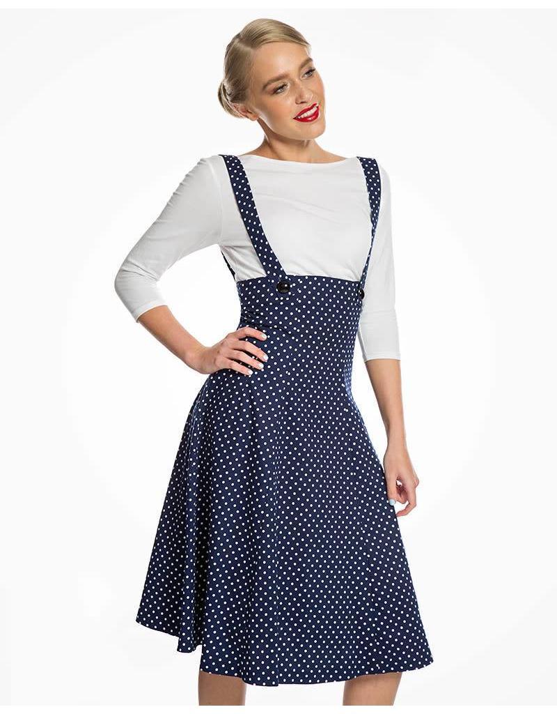 Lindy Bop 'Pixie' Navy Polka Dungaree Swing Skirt