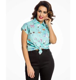Lindy Bop Aqua Woodland animal print shirt