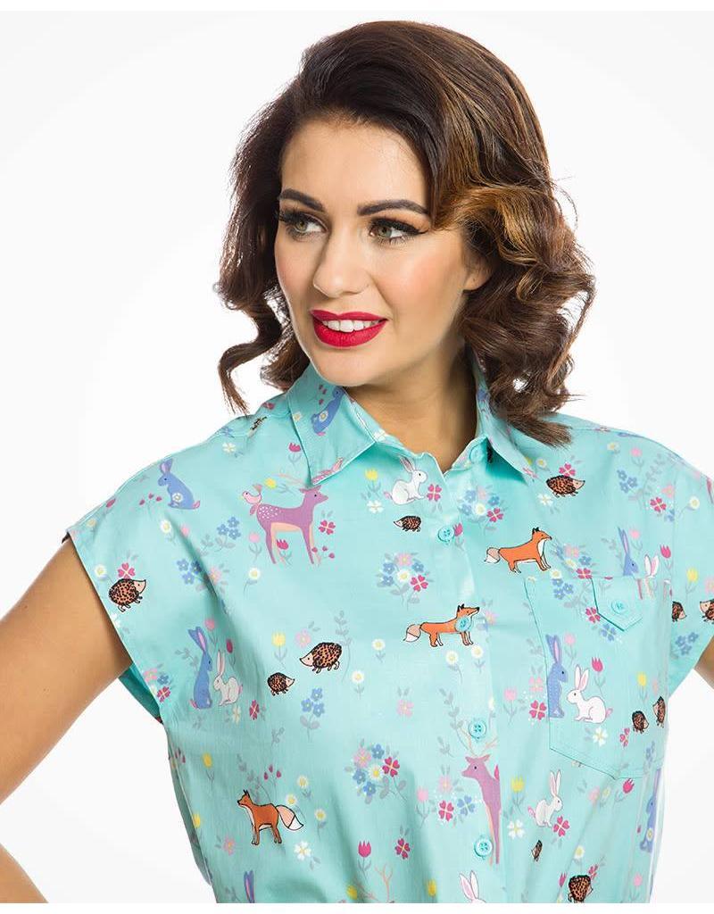 Lindy Bop Aqua Woodland animal print shirt