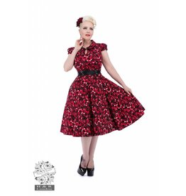 Hearts & Roses Black Red Rose Tea Dress