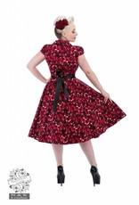 Hearts & Roses Black Red Rose Tea Dress