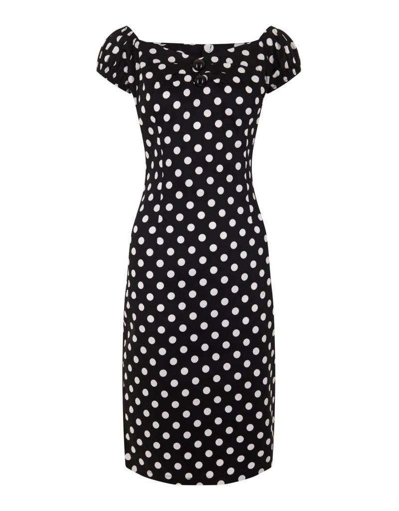 Collectif Dolores polka dot pencil dress