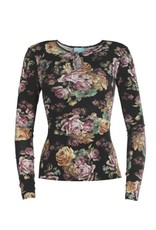 LaLaMour High Neck top with roses