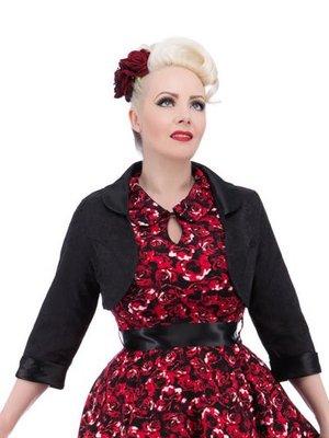 Hearts & Roses Black Brocade Bolero