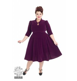 Hearts & Roses Velvet Tea Dress - Purple