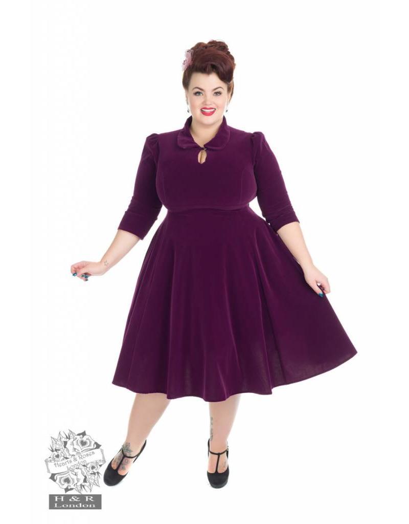 Hearts & Roses Velvet Tea Dress - Purple