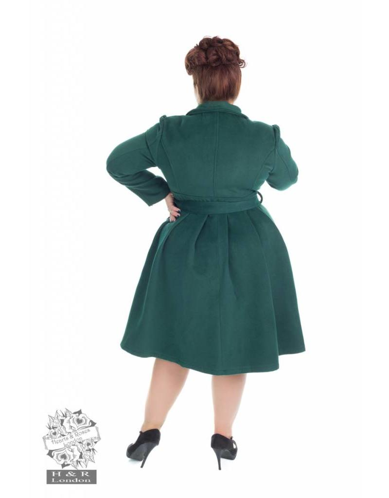 Hearts & Roses Green Vintage Swing Coat