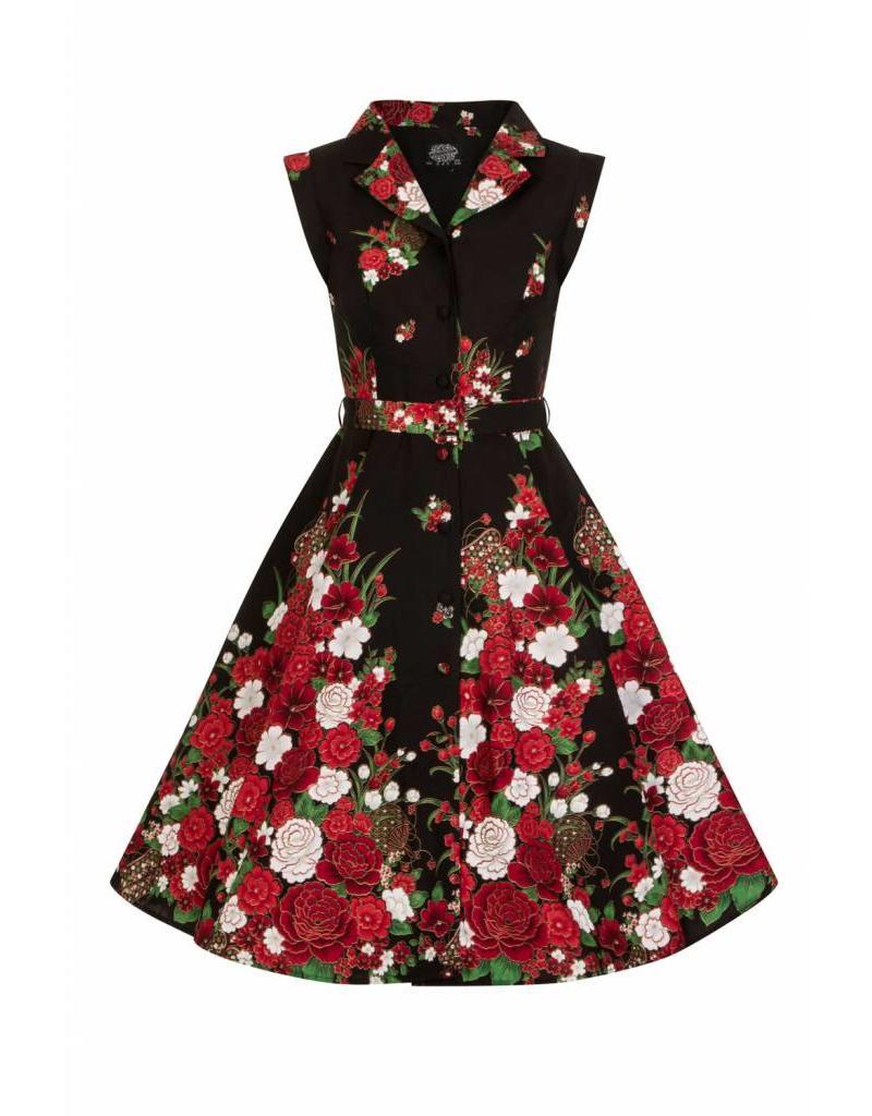 Hearts & Roses Black Floral Shirtwaist Dress