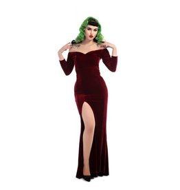 Collectif Anjelica Velvet Maxi Dress - Red