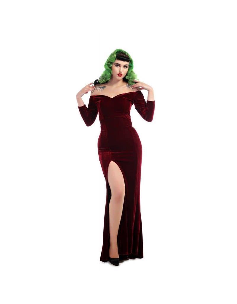 Collectif Anjelica Velvet Maxi Dress - Red