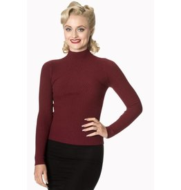 Banned Let's Tango Polo Neck - Burgundy